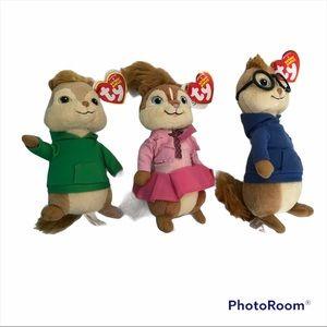 The Chipmunks - Bundle/lot Alvin & Simon & Brittany Ty Beanie Babies Christmas